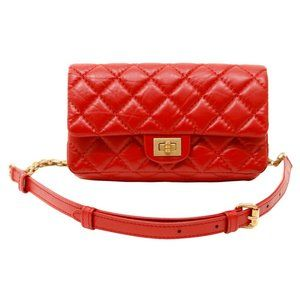 Chanel 2018 Red Quilted Calfskin Leather Belt Bag